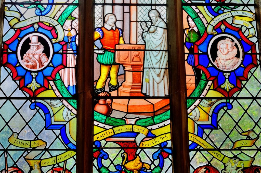 Willoughby church, Captain John Smith window - part of America's Christian heritage - is 45 minutes from Boston.